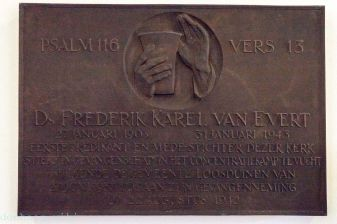 Dominee Frederik Karel van Evert was de bouwdominee van de Bethelkerk in Loosduinen. Deze kerk bestaat niet meer en de plaquette uit 1946 werd in 2015 overgezet naar de Abdijkerk.